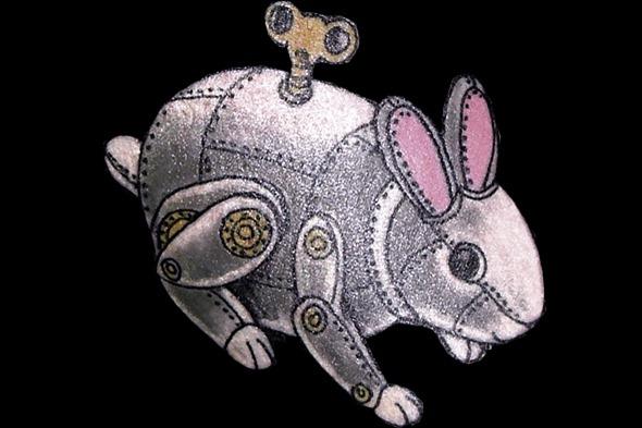 2013May29 steampunk clockwork rabbit tattoo