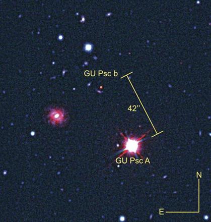exoplaneta GU Psc b e sua estrela GU Psc