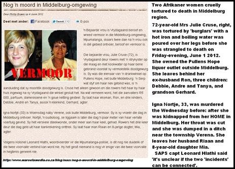 MIDDELBURG twee afrikaner vrouwen gruwelijk doodgemarteld in Middelburg ZuidAfrika 4juni2012