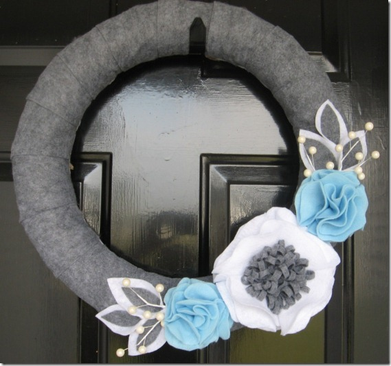 Winter wreath--gray felt wrapped wreath with white, blue and gray flowers and leaves