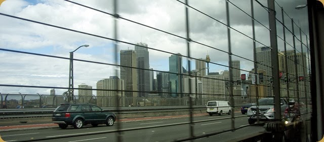 Sydney from train crossing Harbour Bridge