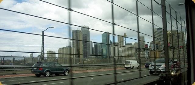 Sydney from train crossing Harbour Bridge