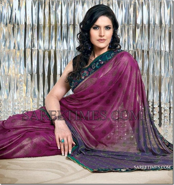 Zarine_Khan_Purple_Polka_Dots_Saree