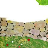A lo largo del prado donde las vacas pastaban y los caballos trotaban había un viejo muro de piedra