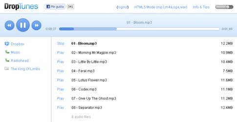 Escuchar música de Dropbox con DropTunes