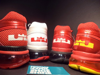lbj pe nike air max trainer 1 3 miami heat 3 1 pack Four Pairs of Nike Air Trainer 1.3 Max Breathe LeBron James PE
