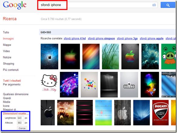Ricerca sfondi iPhone, iPod touch e iPad con Google immagini