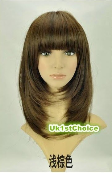 Cleopatra Beautiful Heat Resistant Medium Bob Chestnut Lady Wig UK115Q