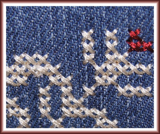 Cross Stitches on Designer Diamond deLuxe, close-up
