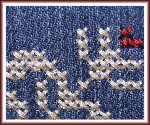 Cross Stitches on Designer Diamond deLuxe, close-up