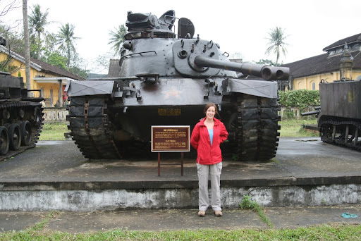 Lynette in front of an M48 tank, supplied to and captured from the South Vietnamese on March 25th 1975.