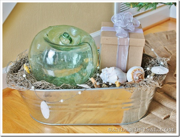 Glass Float in Galvanized Tin pail