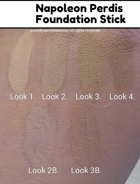 Napoleon Perdis Foundation Stick; Review & Swatches of Shades Look 1, Look 2, Look 3, Look 4, Look 2b, Look 3b.
