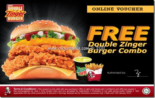 Coupon Kupon free Voucher PERCUMA KFC Double Zinger Burger Combo
