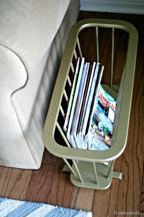 home.made. Gold Magazine Rack Redo