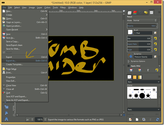 GIMP screenshot showing File>Export As...