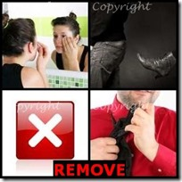 REMOVE- 4 Pics 1 Word Answers 3 Letters