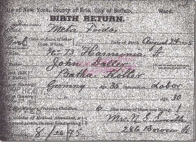 DOLLER_Meta Freada_birth record_24 Aug 1895_BuffaloErieNew York_enhanced & made darker