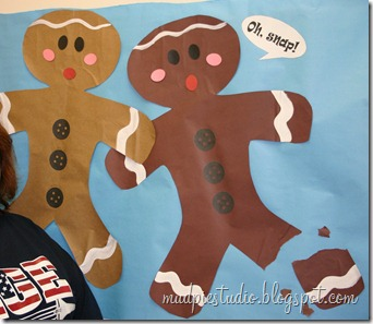 Gingerbread bulletin board idea from mudpiereviews.blogspot.com #holiday #Christmas #school #music