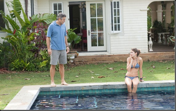 clooney and woodley in THE DESCENDANTS