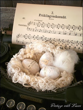 Spring Decoration: Nest on Typewriter - Vintage with Laces