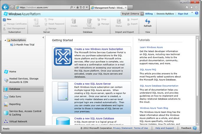 Create a new SQL Azure Server tile in Windows Azure platform