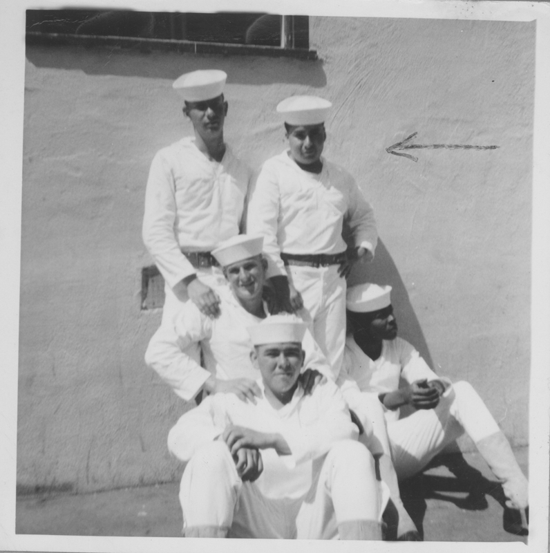 Alfonet? Lopez with four Navy servicemen. April 1962.
