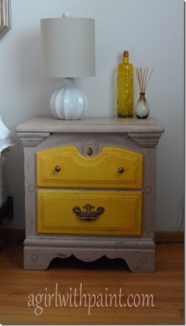 tan and yellow distressed nightstand