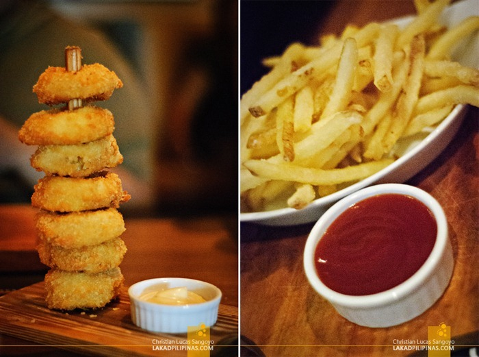 Beer Battered Onion Rings and House Fries at Chops Chicago Steakhouse