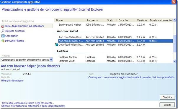 Internet Explorer addon che rallentano il browser