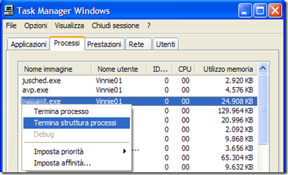 Task Manager Windows - Processi
