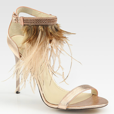B Brian Atwood Metallic Leather and Feather Embellished Sandals, $350, Saks.com