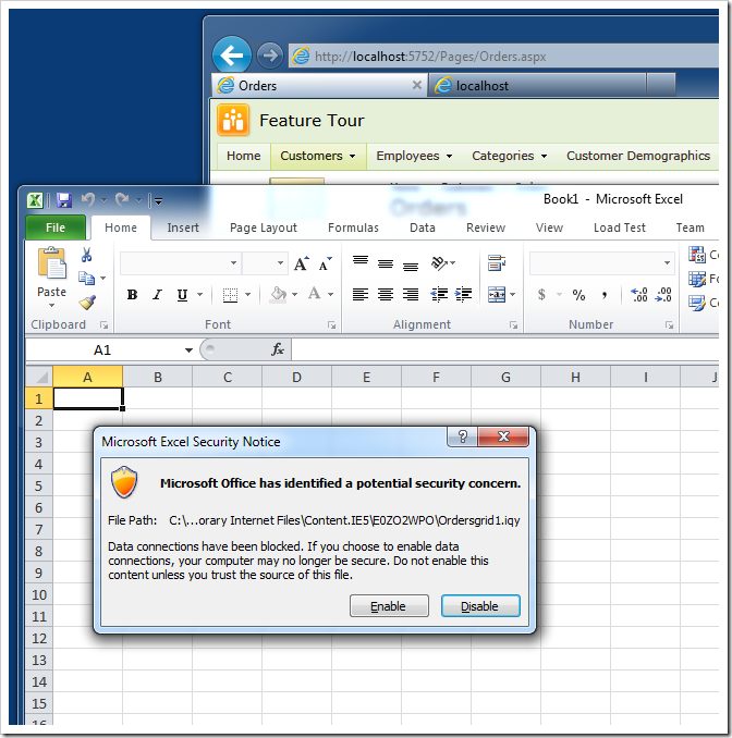 The prompt to download '*.iqy' file displayed by Microsoft Excel