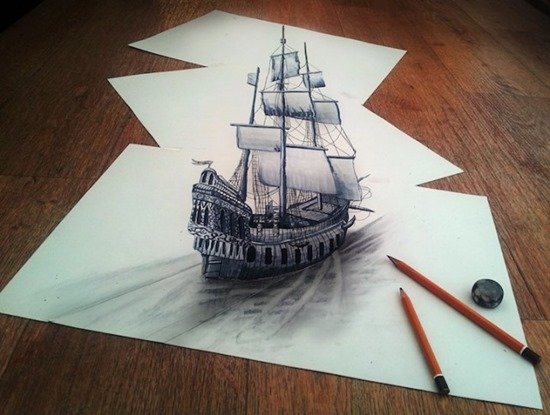 ship anamorphic drawing