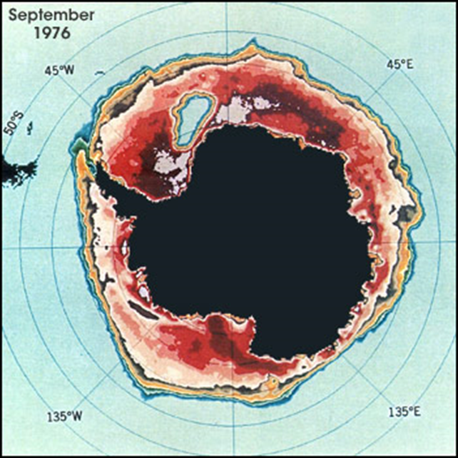Satellite imagery allowed scientists to find an ice-free area in the Weddell Sea (upper left quadrant) in the Antarctic winters of 1974 through 1976. Photo: Claire Parkinson / NASA GSFC
