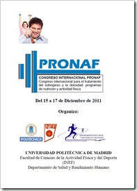 Congreso Internacional PRONAF en el INEF Madrid del 15 al 17 de diciembre de 2011.