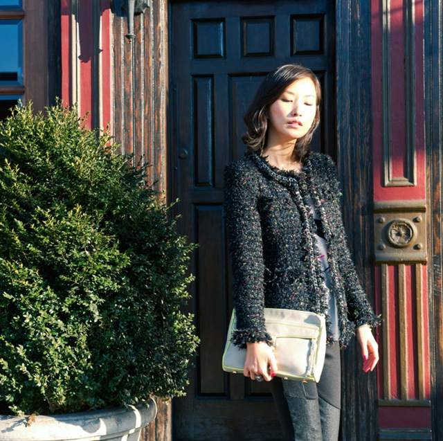 street style fashion blogger misspouty blog multicolor tweed jacket denim leggings lace booties rebecca minkoff clutch8