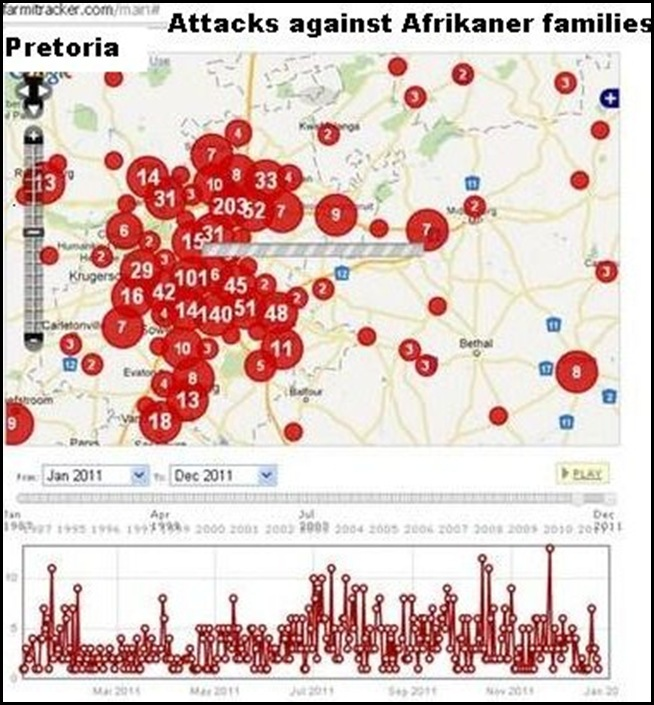PRETORIA NORTH SMALLHOLDINGS AFRIKANERS PRETORIA ATTACK RATE DEC 2011 MAP
