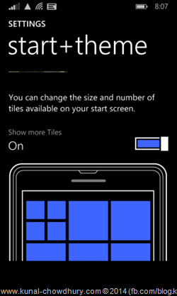 Windows Phone 8.1 start+theme Settings to accomodate more tiles (www.kunal-chowdhury.com)