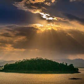 Sunset Thailand. by John Greene - Landscapes Sunsets & Sunrises ( nature, sunset, kaengkrachan, dam, john greene )