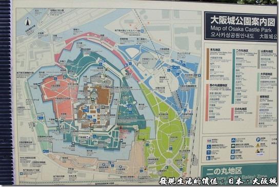 日本大阪城,從這張大阪城的地圖可以大致看出整個大阪城的佔地之大。
