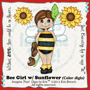 PROMO Bee Girl w Sunflower color
