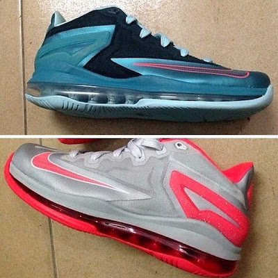 2013 lebron11 low blue grey Preview of New Nike LeBron XI Styles: Black/Blue & Grey/Crimson