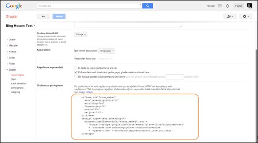Google Grup Kodları
