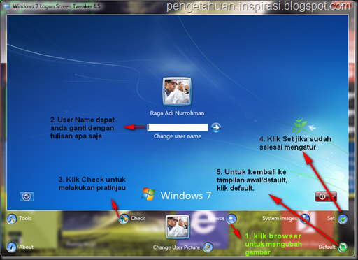 mengganti background Log On anda dengan Log On Screen Tweaker