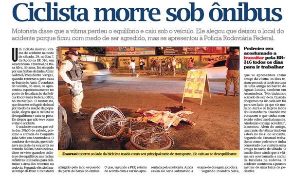 Ciclista morre