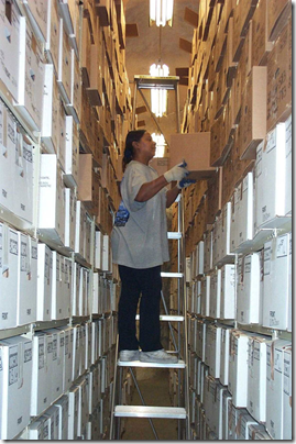 A NARA staff member retrieves documents at the Lee's Summit, Missouri location.