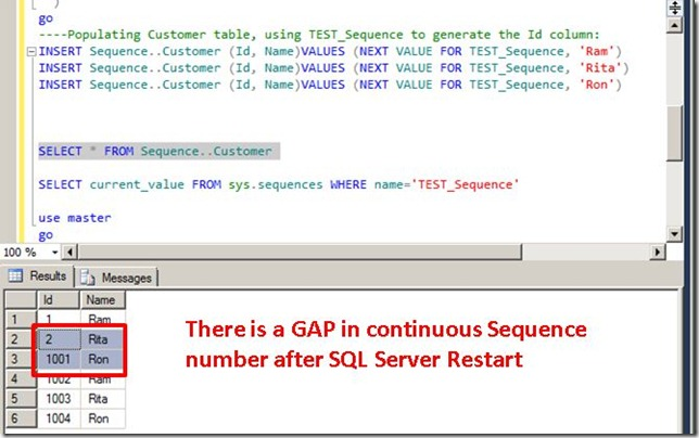 SEQUENCE BREAKS / GAP in Numbers after Restart SQL Server (gap between numbers after restarting server) SQL Server Sequence SQL Server 2012