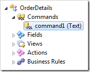Command1 of OrderDetails controller node in the Project Explorer.