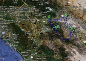 the blue route we took today in the bigger context of this part of Southern California